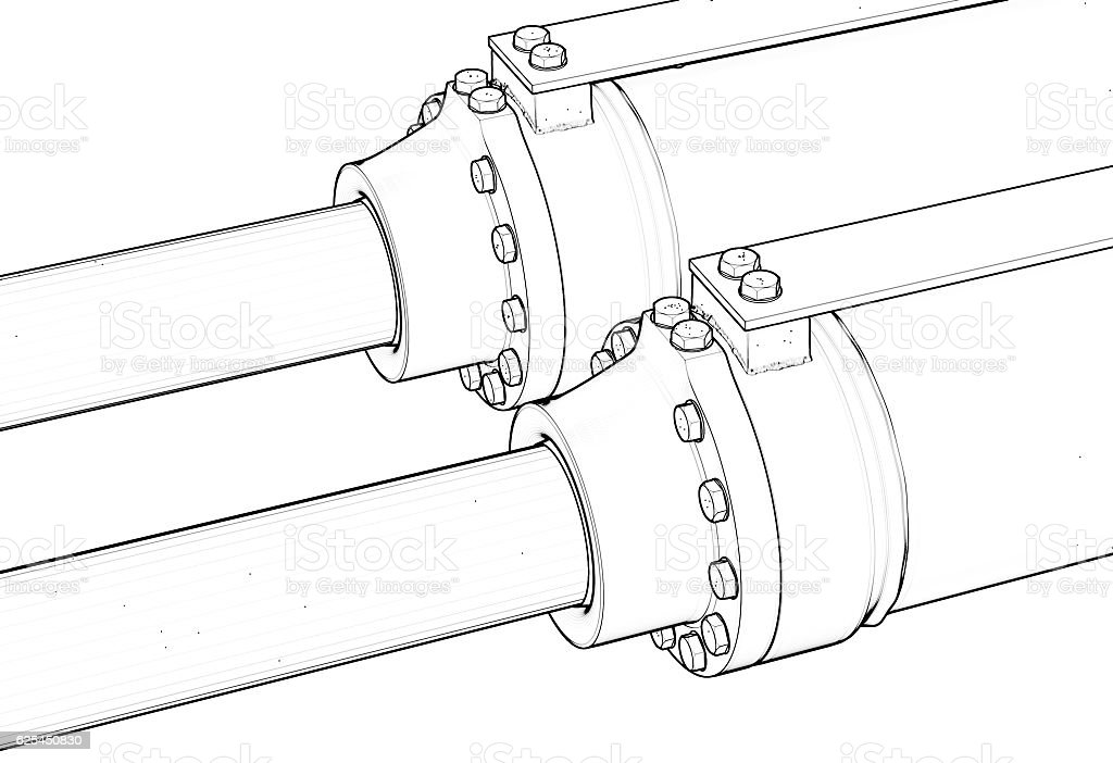 machine piston hydraulic system industrial isolated outline sketch 3d illustration vector art illustration