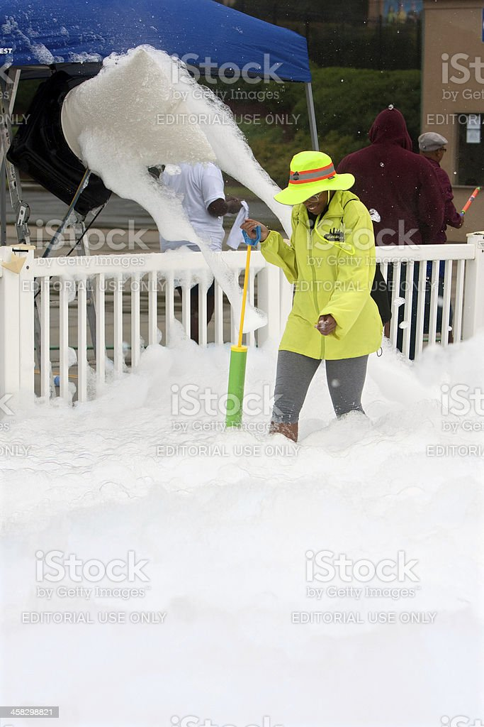 Machine Pours Out Bubbles And Foam At Race Finish Line royalty-free stock photo