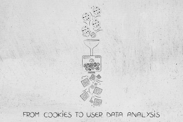 machine processing browser cookies into user data to be analyzed stock photo
