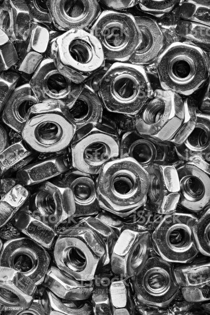 Machine Screw Nuts Vertical stock photo