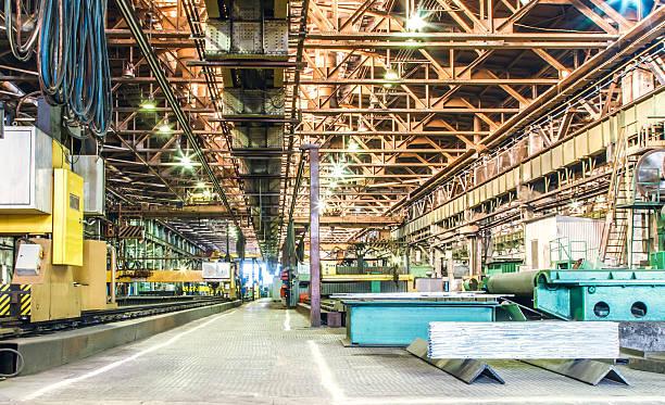 Machine shop of metallurgical works stock photo