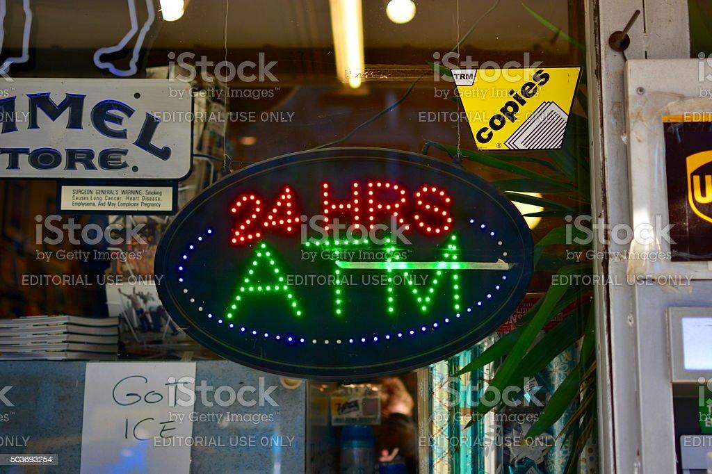 ATM machine sign stock photo