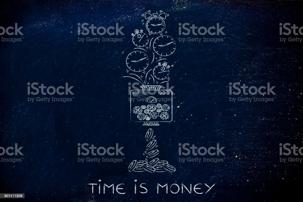 machine turning clocks into coins, time is money stock photo