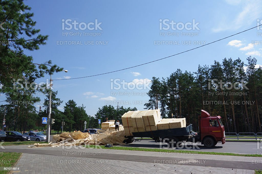 machine woodworking plant products overturned - foto de stock