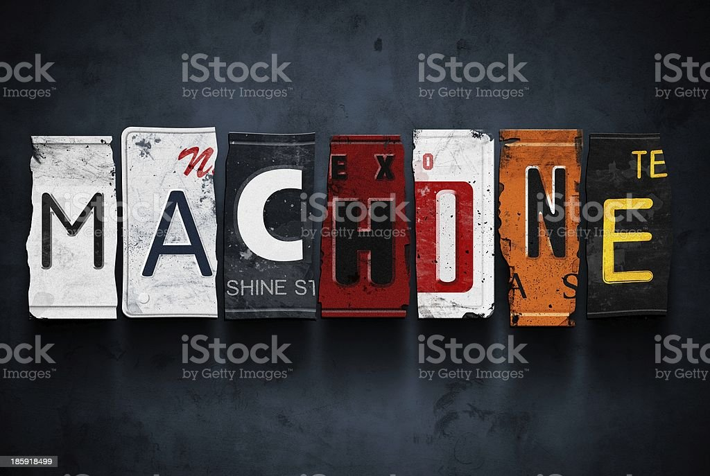 Machine word on vintage car license plates, concept sign royalty-free stock photo