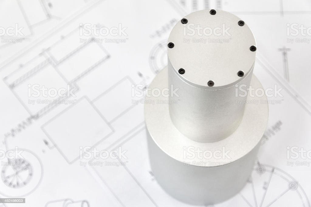 Machined Part and its drawings royalty-free stock photo
