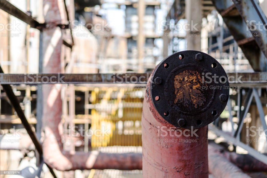 machinery and equipment in an abandoned factory stock photo