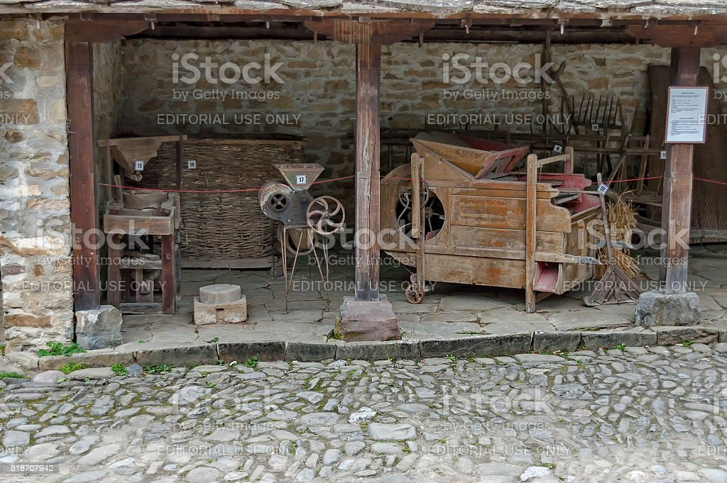 Machinery for gathering the corn from wheat in Etar, Gabrovo stock photo
