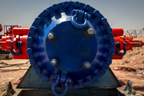 Machinery Installing blowout preventer stack stock photo
