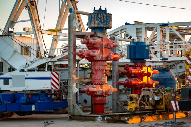 Machinery Installing blowout preventer stack,Blowout Preventor (BOP) stock photo