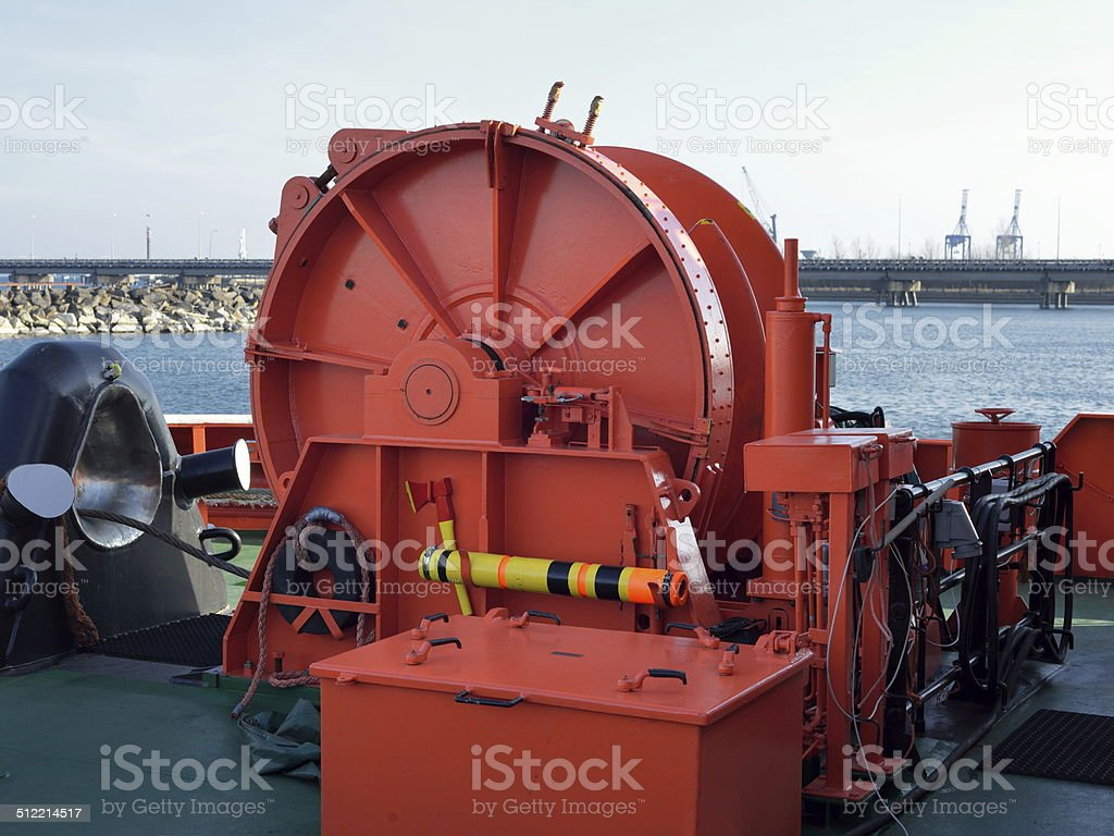 Machinery On the front of the ship stock photo