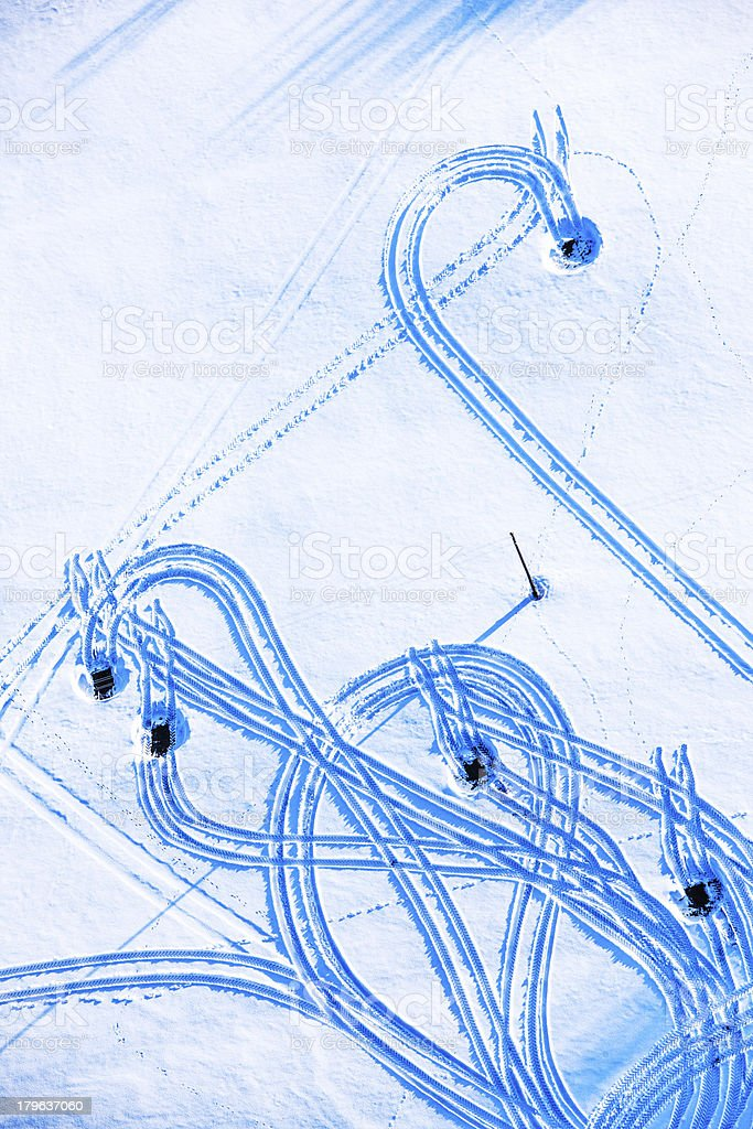 Machinery trails in snow royalty-free stock photo