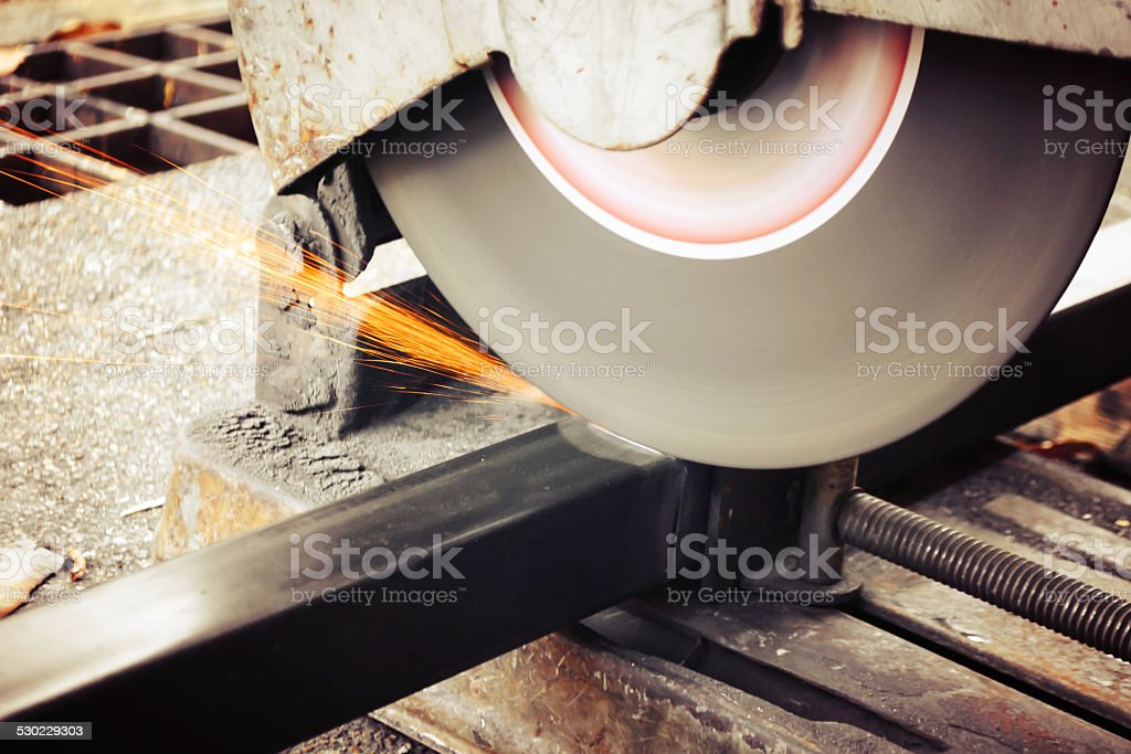 Machines for metal cutting with sparks light stock photo