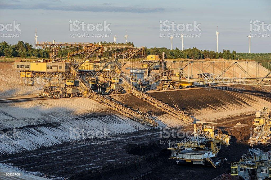 Machines in a lignite mine stock photo