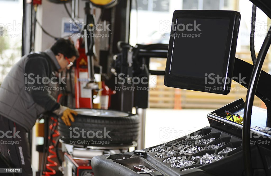 Machines in Auto repair shop stock photo