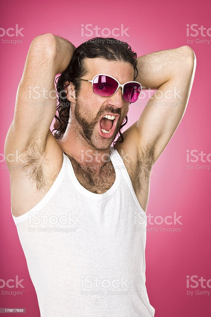 macho man parody on pink background stock photo