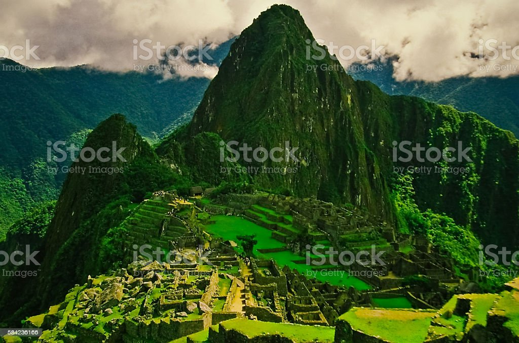 Machu Picchu (Peru, Southa America), at 2008, 35 mm film stock photo