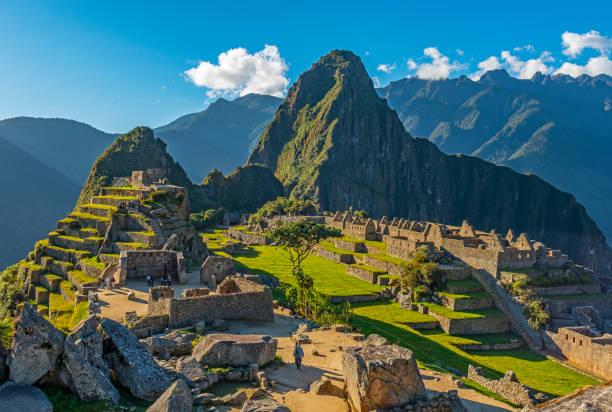 Machu Picchu at Sunset in Peru stock photo