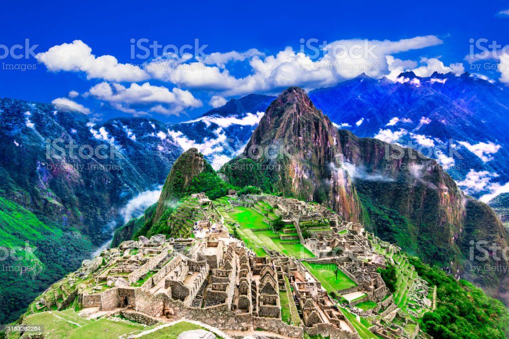 Overview of the lost inca city Machu Picchu, agriculture terraces and...