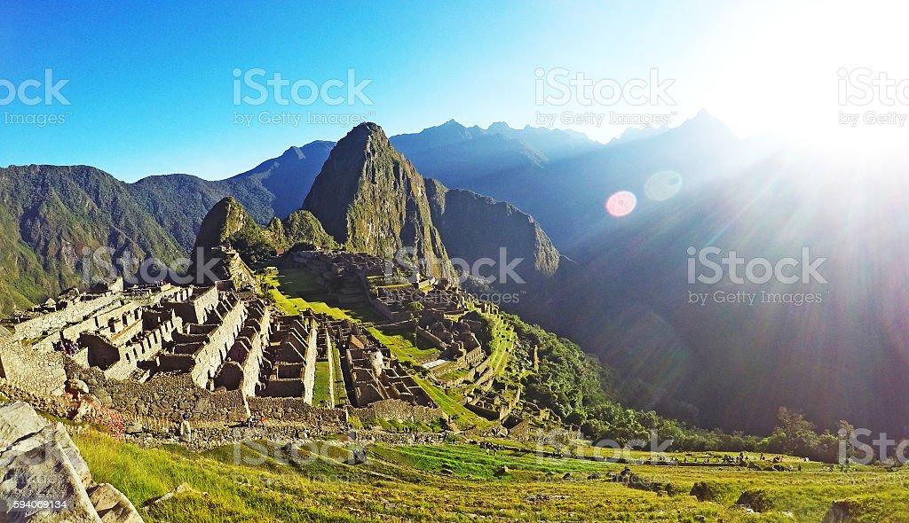 Machu Picchu in the sun stock photo