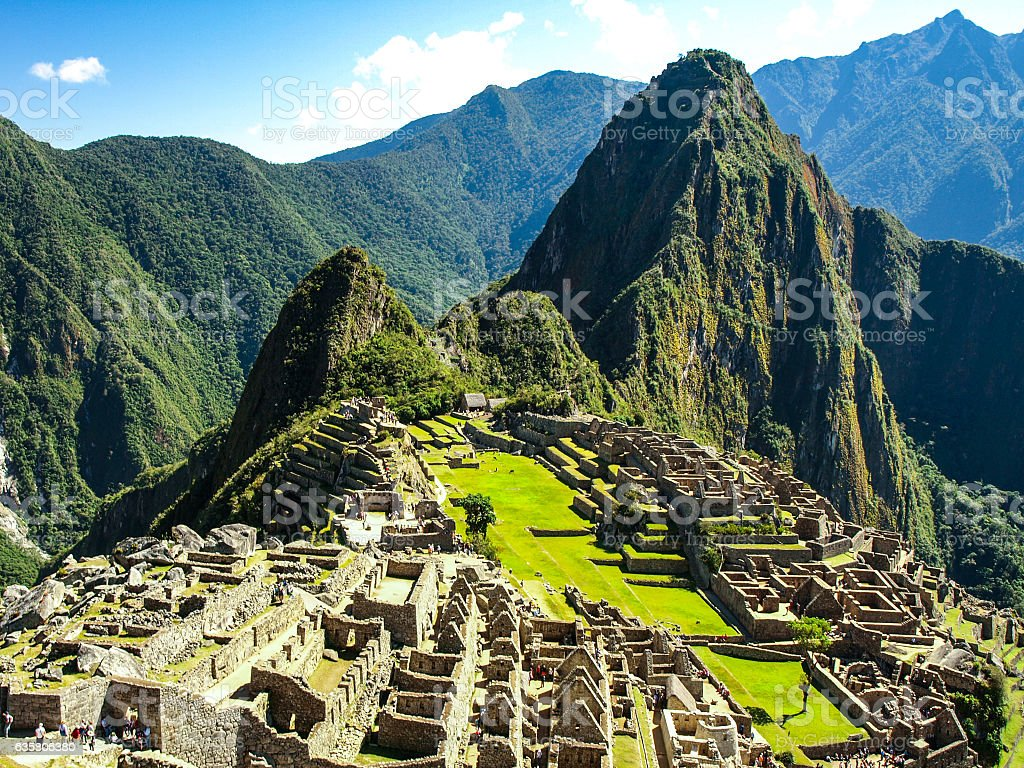 Machu Picchu - lost city of Incas. Historical citadel above stock photo