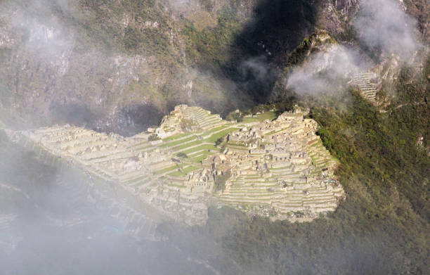 Machu Picchu site seen from Inca Trail entrance stock photo