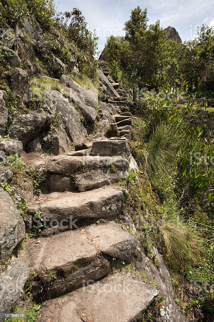 Machu Picchu stone steps stock photo
