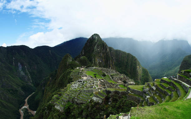 Machu Picchu, wide angle view stock photo
