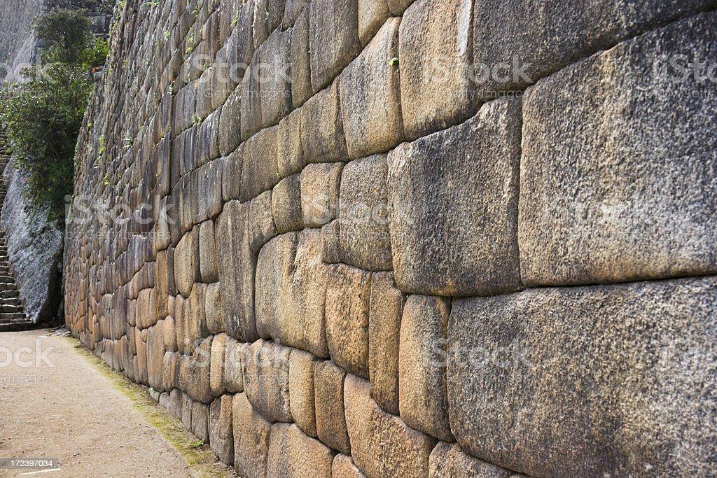 Machu Picchu—Stone Wall royalty-free stock photo