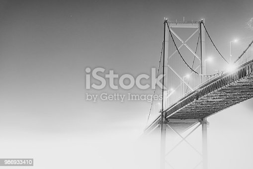 The A. Murray MacKay bridge in fog.  Long exposure.
