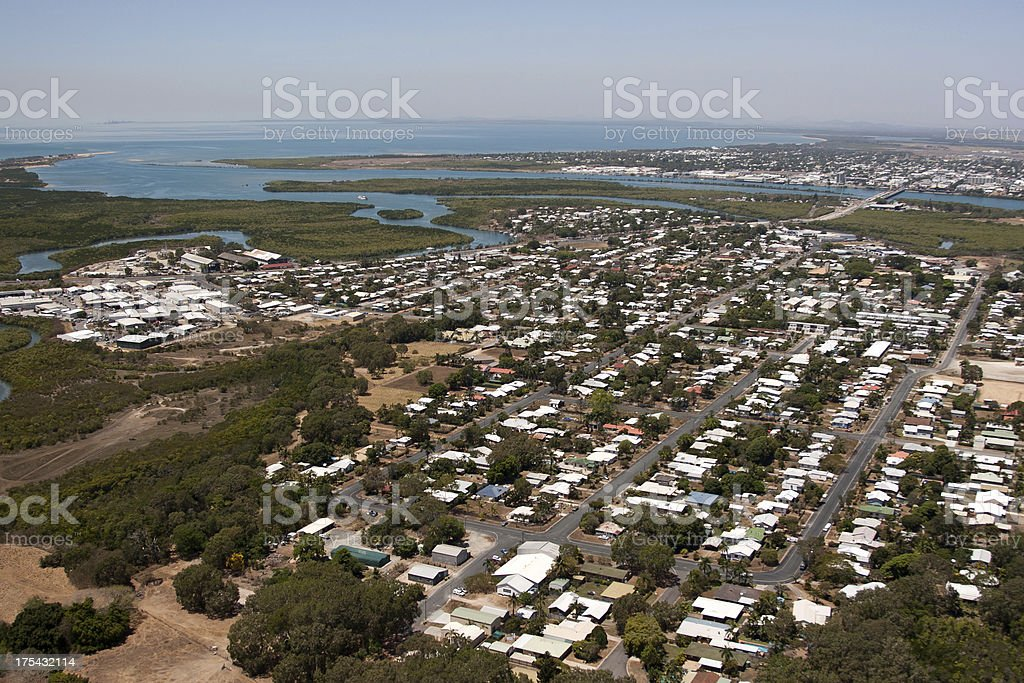Mackay Queensland aerial view of residential suburban houses stock photo