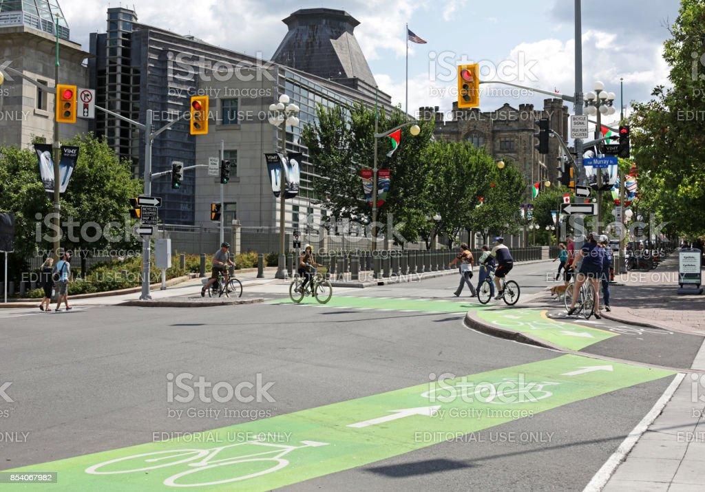 Mackenzie Avenue Bike Lanes Near the United States Embassy in Ottawa, Canada, in Summer stock photo