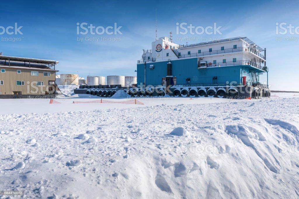 Mackenzie River Barge Dock in Winter stock photo