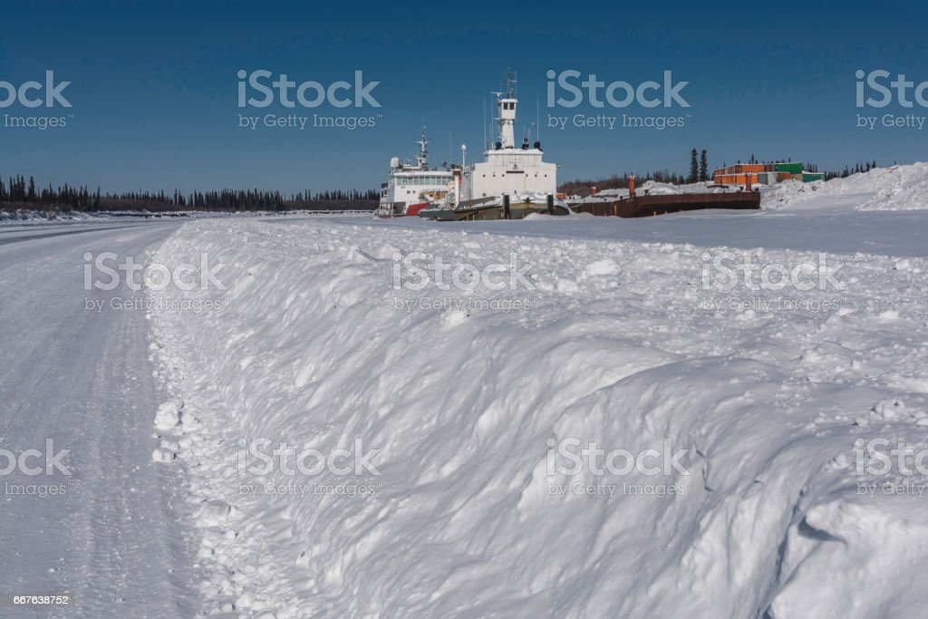 Mackenzie River Barges in Winter stock photo