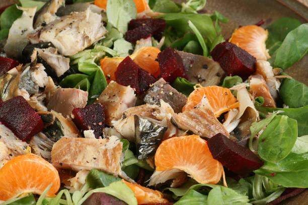 mackerel and mixed salad stock photo