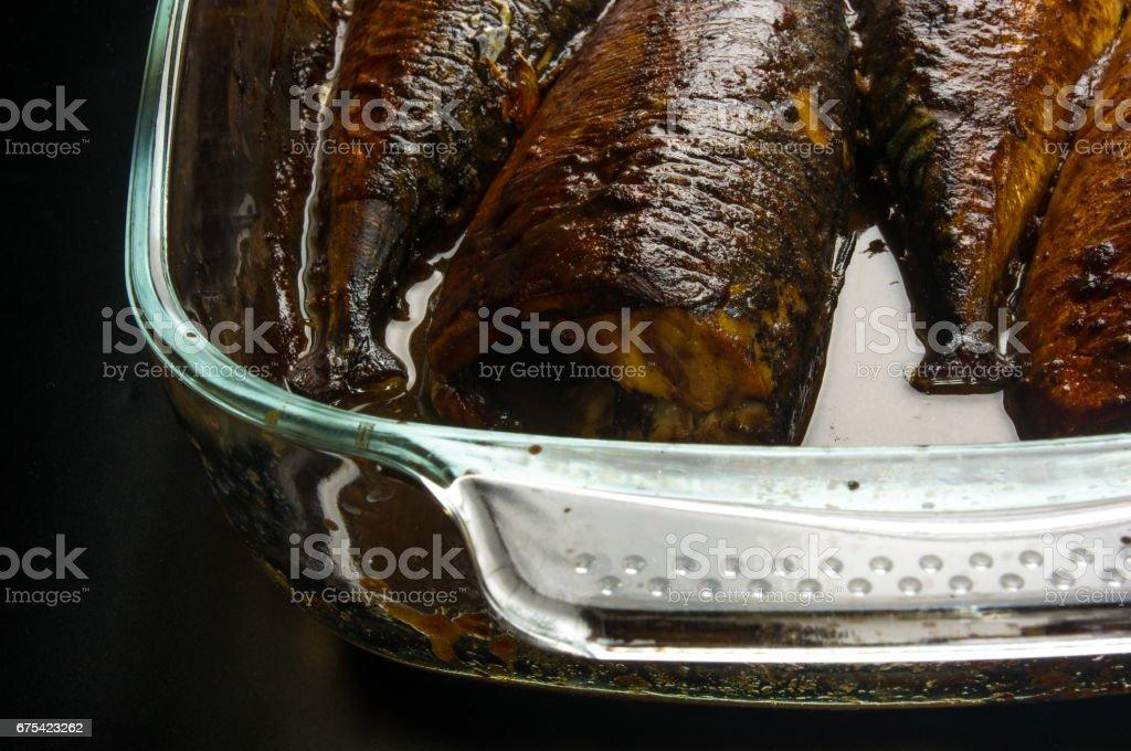 Mackerel, baked in a glass container photo libre de droits