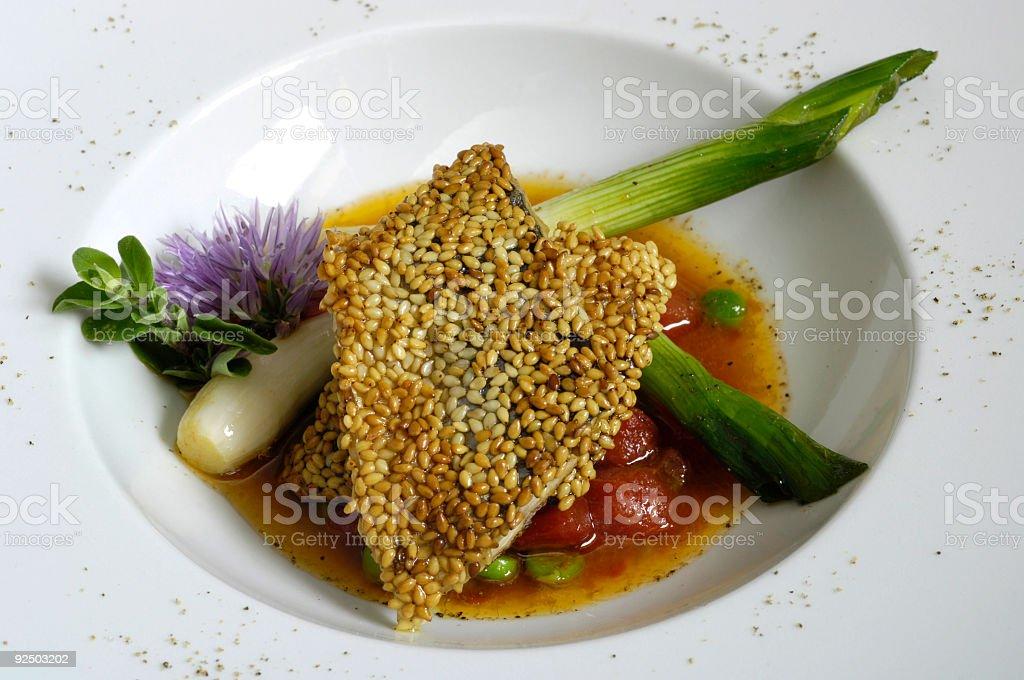Mackerel fish with sesame royalty-free stock photo