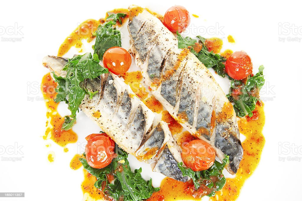Mackerel grilled with red pepper sauce royalty-free stock photo