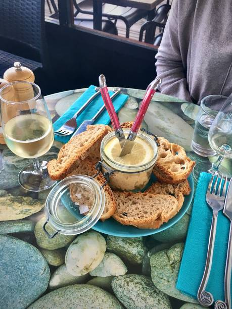 Mackerel rillettes and lightly toasted fresh bread. stock photo