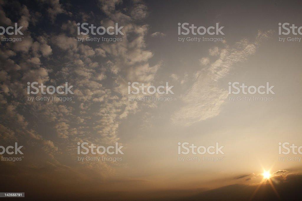 Mackerel sky at sunset royalty-free stock photo
