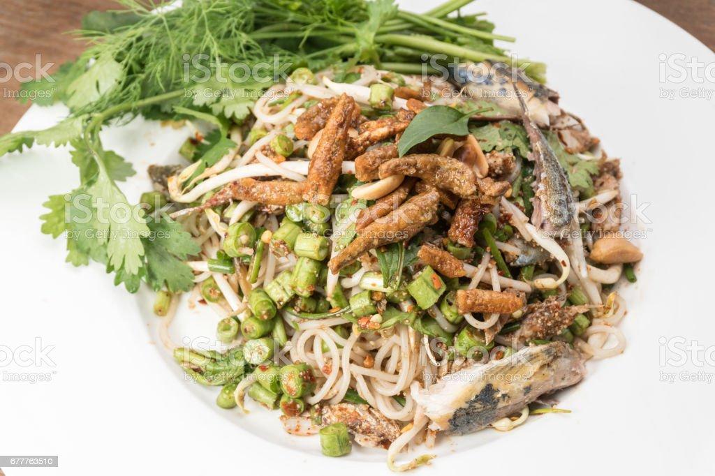 Mackerel spicy salad royalty-free stock photo