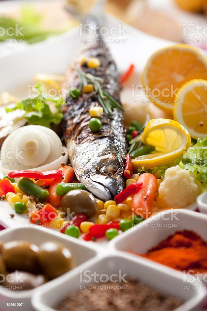 mackerel with mixed vegetables royalty-free stock photo