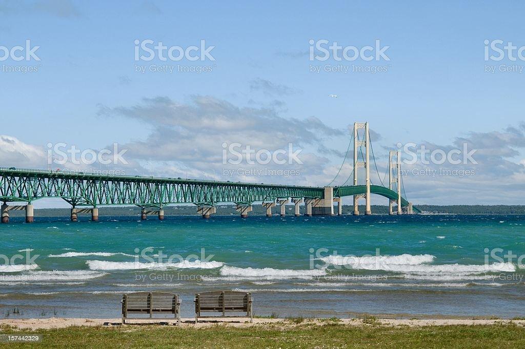 Mackinac Bridge and the Straits stock photo