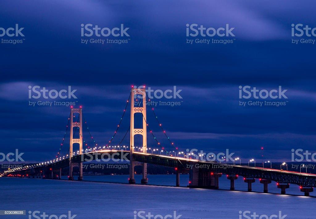 Mackinac Bridge in the Twilight stock photo