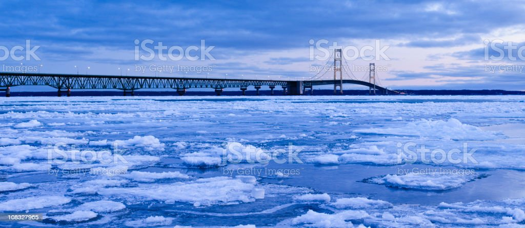 Mackinac Bridge in Winter stock photo