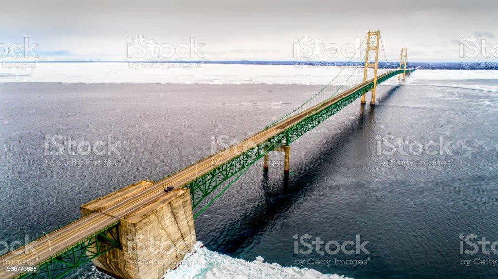 Mackinac Bridge in Winter with Ice stock photo