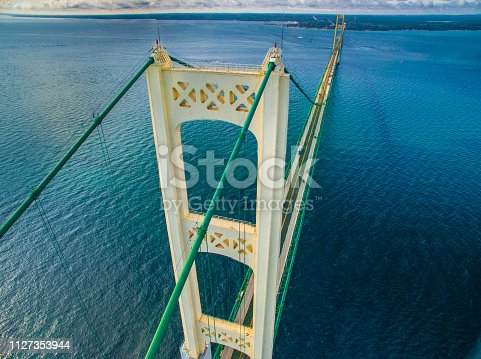 The Mackinac Bridge connecting the upper and lower peninsula's of the state of Michigan, US. Across the straits connecting Lake Michigan and Lake Huron.
