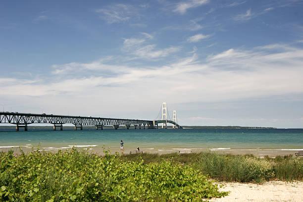 mackinac bridge - mackinac island stock photos and pictures