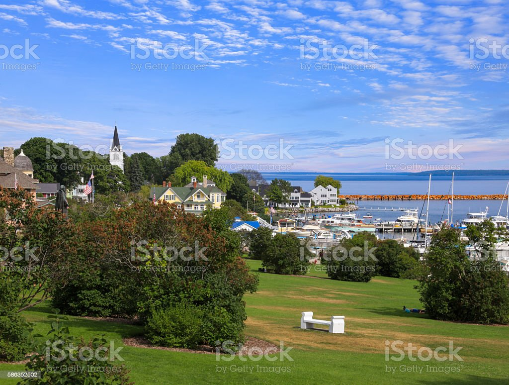 Mackinac City on Mackinac Island stock photo