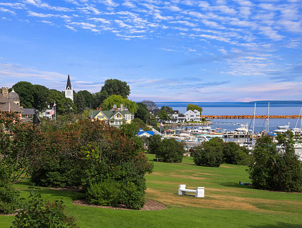 mackinac city on mackinac island - mackinac island stock photos and pictures